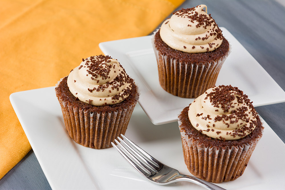 Mocha Molasses Cupcakes with Brandy Cream