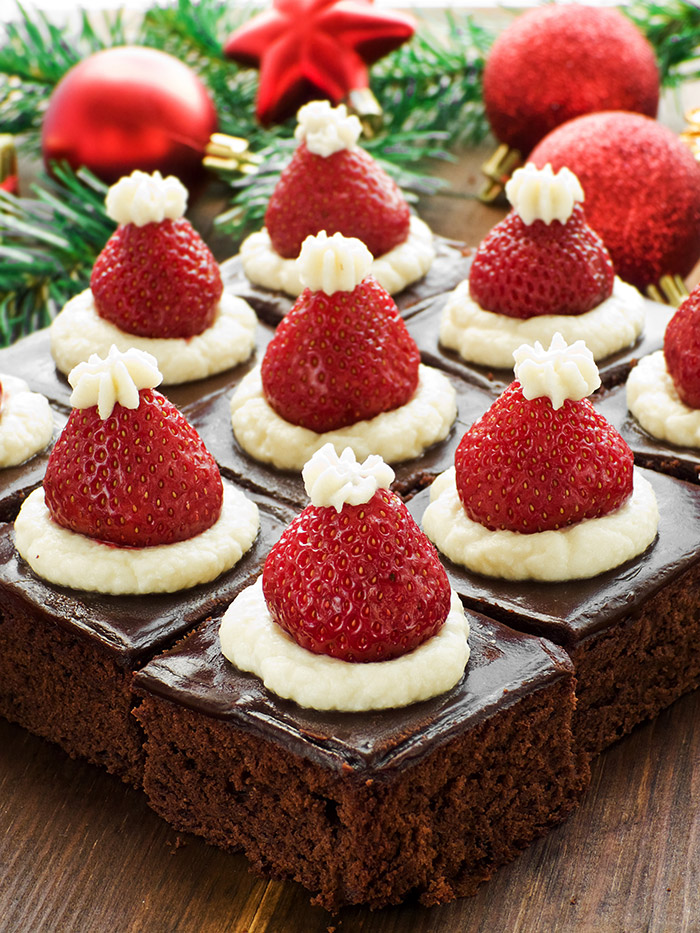 Santa Hat Chocolate Dream Brownies (20-Minute Recipe)